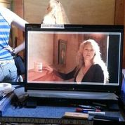 """on the """"video village"""" monitor on the set of """"scream at the devil."""""""